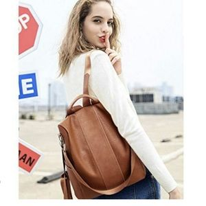Women leather backpack shoulder bag